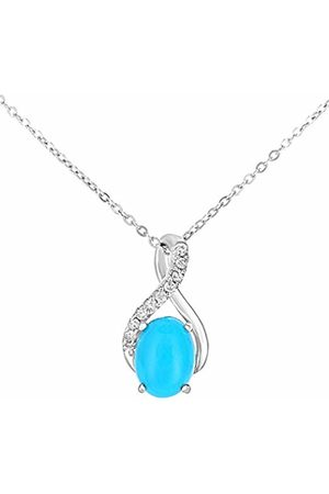 Naava 9ct White Gold Oval Turqoise and Diamond Twist Pendant Necklace of 46cm