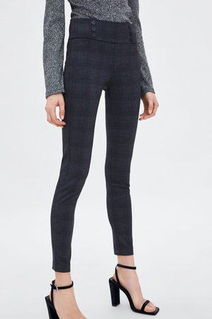 Zara CHECK MID WAIST LEGGINGS