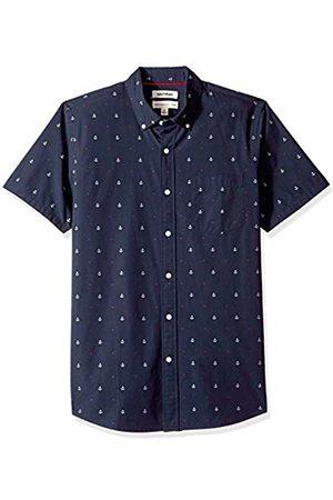 Goodthreads Men's Standard-Fit Short-Sleeve Dobby Shirt, -navy anchor