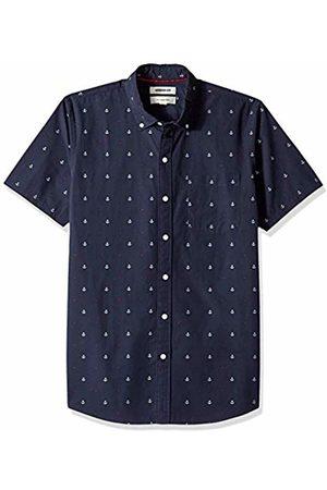 Goodthreads Men's Slim-Fit Short-Sleeve Dobby Shirt, -navy anchor