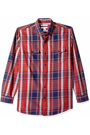 Amazon Essentials Men T-shirts - Men's Regular-Fit Long-Sleeve Two-Pocket Twill Shirt, Plaid