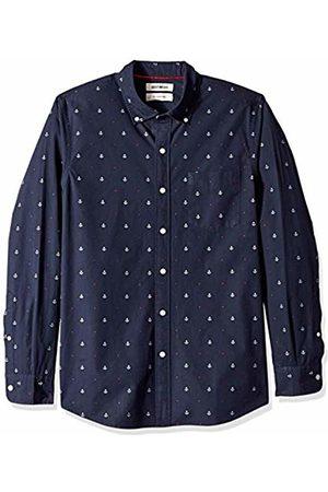 Goodthreads Men's Slim-Fit Long-Sleeve Dobby Shirt, -navy anchor
