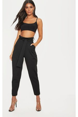 PRETTYLITTLETHING Women Formal Trousers - Scuba Tie Waist Cigarette Trouser