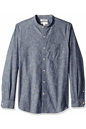 Goodthreads Men's Slim-Fit Long-Sleeve Band-Collar Chambray Shirt, -navy