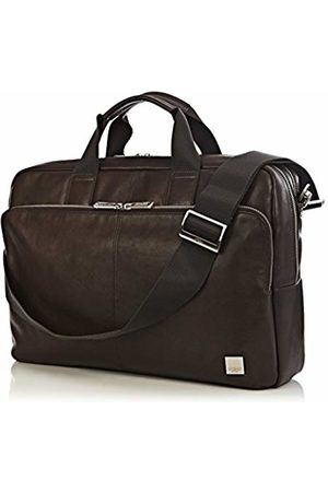 "Knomo 155-259-BRN""Amesbury"" Double Zip Leather Briefcase for 15.6-Inch Laptop"