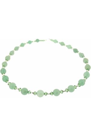 Earth Aventurine and Swarovski Crystal Beaded Necklace at 45cm in Length