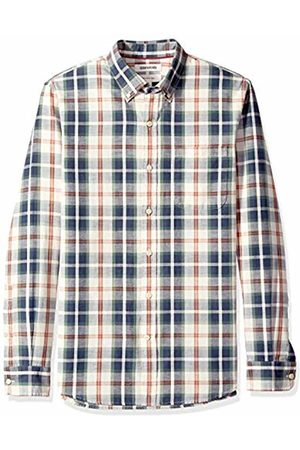 Goodthreads Men's Slim-Fit Long-Sleeve Pattern Chambray Shirt, - /ivory plaid