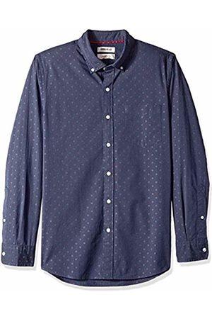 Goodthreads Men's Slim-Fit Long-Sleeve Dobby Shirt, -navy dot