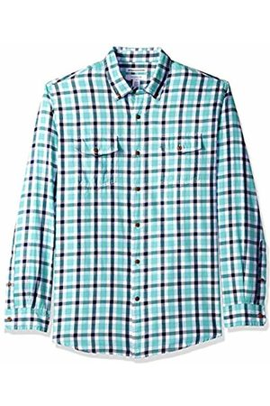 Amazon Essentials Men's Regular-Fit Long-Sleeve Two-Pocket Twill Shirt, /Navy Plaid