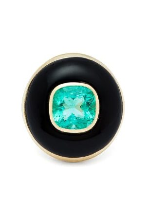 Retrouvai Lollipop Gold, Onyx & Emerald Ring - Womens