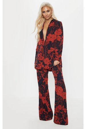 PRETTYLITTLETHING Floral Print Wide Leg Trouser