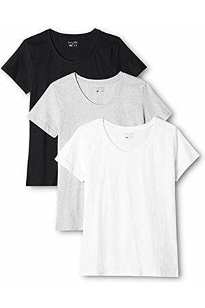 Berydale 3-Pack Women's T-Shirt Round Neck in, Multicoloured-Mehrfarbig (Schwarz/Weiß/Grau)