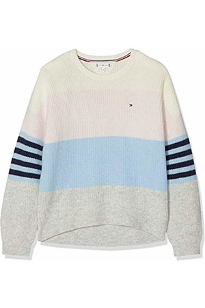 Tommy Hilfiger Girl's Fluffy Colorblock Sweater Ls Sweatshirt, (Bright 123)