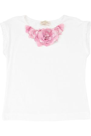 MONNALISA Jersey T-shirt W/ Flower Necklace