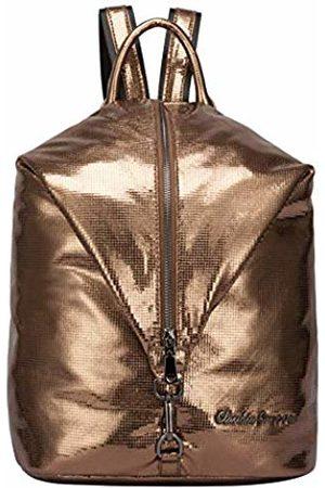 Claudia Canova Womens Backpack Metallic Fabric Vertical Zip Backpack (Bronze)