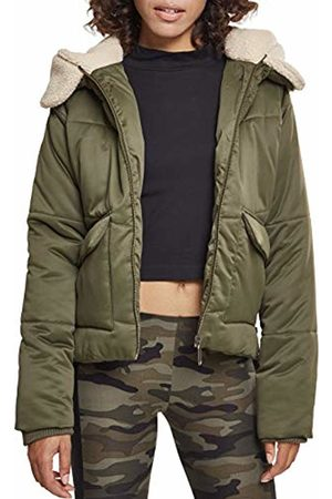 Urban classics Women's Ladies Sherpa Hooded Jacket, Olive/Dark Sand 01480