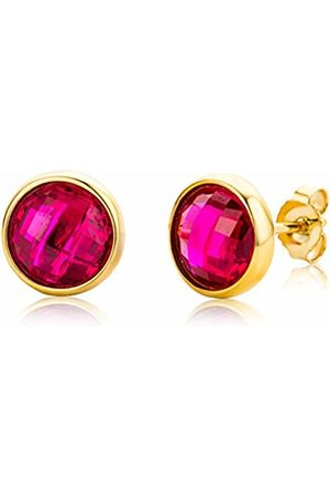 Miore Ladies 9 ct Yellow Gold Round Cut Garnet Bezel Earrings