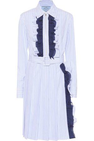 Prada Ruffle-trimmed striped cotton dress