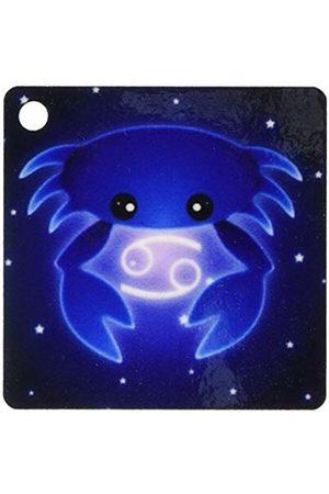 3dRose Cute Astrology Cancer Zodiac Sign Blue Crab - Key Chains, 2.25-inch, Set of 2 Keyring
