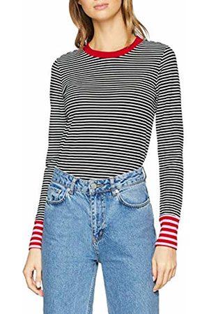 warehouse Women's Contrast Cuff Stripe Long Sleeve Top
