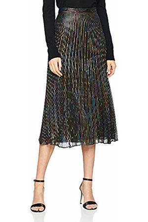 warehouse Women's Rainbow Foil Stripe Pleated Midi Skirt