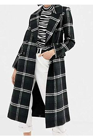 warehouse Women's Check Double Breasted Long Sleeve Coat
