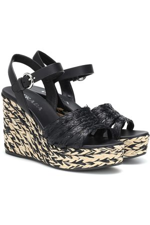 Prada Raffia and leather wedges