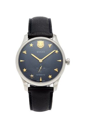 Gucci G-timeless Leather Watch - Mens - Navy
