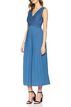Little Mistress Women's Margot Lace Top Pleat Midaxi Dress (Denim)