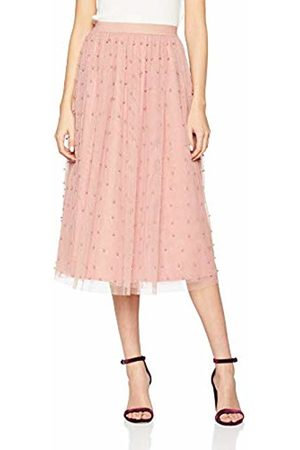 Little Mistress Women's Ambrose Apricot Pearl Detail Midi Skirt