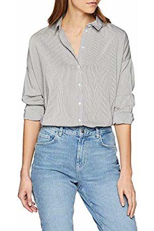 Vero Moda Women's Vmerika Stripe L/s Oversize Shirt Noos Blouse, (Snow Stripes:Nema Night Sky)