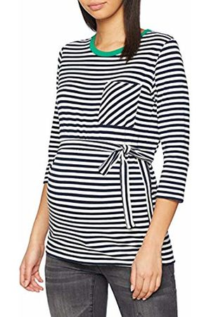 Mama Licious Women's Mlgina 3/4 Jersey Top A. V. Vest, Y/D Stripes Navy Blazer & Snow