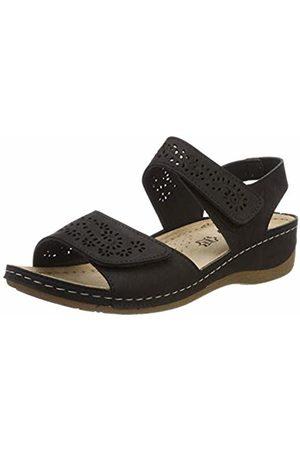 LICO Women's Padua Ankle Strap Sandals, Schwarz