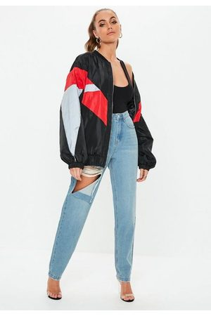 Missguided Women High Waisted - Tall Stone Wash Ripped Thigh High Waisted Mom Rigid Jeans