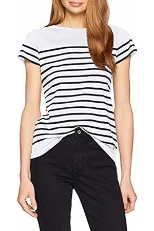 Armor.lux Women's Marinière \etel\ Héritage Femme T-Shirt, Blanc/Rich Navy Bi9
