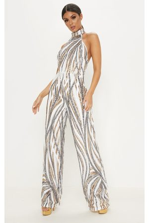 PRETTYLITTLETHING Gold Sequin High Neck Jumpsuit