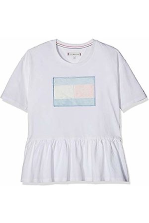 Tommy Hilfiger Girl's M Fur Flag Tee S/s T-Shirt, (Bright 123)