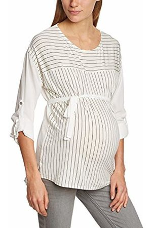 Mama Licious Women's Mlyou Mix Striped Banded Collar Long Sleeve Maternity Top