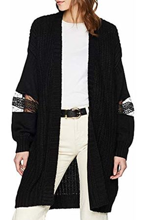 Lost Ink Women's LACE Insert Knitted Chunky Cardigan