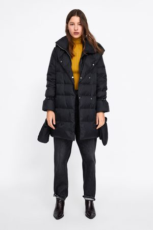 Zara Coats - DOWN PUFFER COAT WITH WRAPAROUND COLLAR