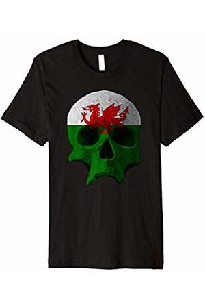 designsanddesigns Wales Wales Flag Skull Welsh Dragon Patriotic T-shirt