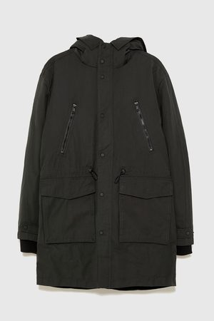 Zara PARKA WITH DETACHABLE FAUX SHEARLING LINING
