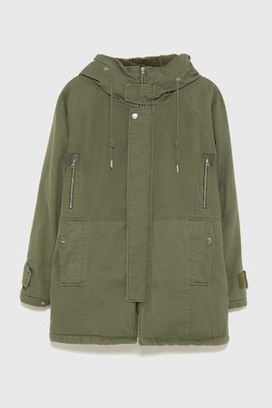 Zara DENIM PARKA WITH FAUX SHEARLING LINING