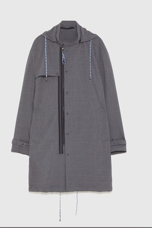Zara CHECKED LIGHTWEIGHT PARKA
