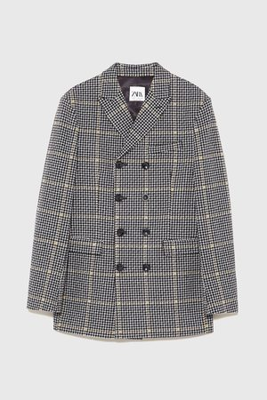 Zara Double-breasted check three-quarter-length coat