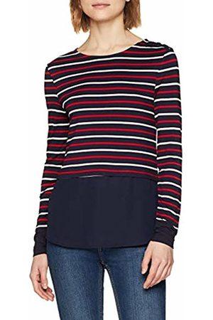 warehouse Women's Stripe Woven Mix Button Long Sleeve Top