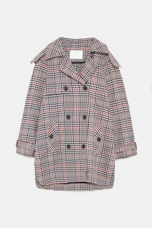 Zara SHORT CHECK TRENCH COAT