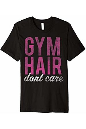 Workout T-Shirt Gym Hair Don't Care Pink White Vintage Graphic T-Shirt