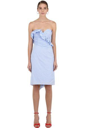 AlexaChung Strapless Ruched Cotton Mini Dress