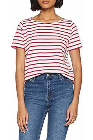 Armor.lux Women's Marinière \hoëdic\ Héritage Femme T-Shirt, Blanc/Braise 320